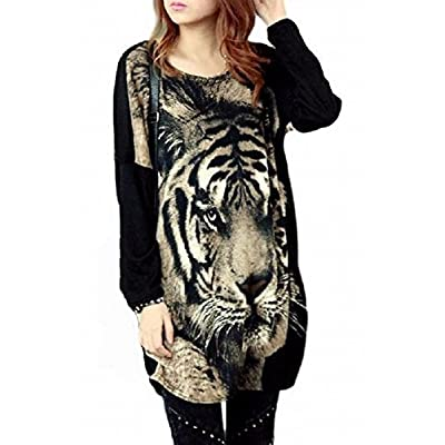 (トーアソーア) toasoa インパクト大 トラ 柄 フェイス プリント チュニック Tシャツ ロンT 長袖 裾くしゅ 虎 タイガー 豹柄 ヒョウ柄 レディース ファッション グレー