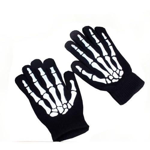 (ディーコッテ) D'Kotte タッチペン付き スケルトン スマホ 対応 D'Kotte 手袋 スマートフォン メンズ 骸骨 ドクロ 黒 ブラック タッチペン スキー スノボ ゲレンデ ウィンタースポーツ