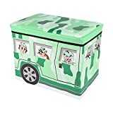 Sasuga 座れる ストレージ ボックス [ 動物園バス ] 折りたためる 収納ボックス スツール ふた付き おもちゃ箱 トイボックス (アーミー・グリーン)