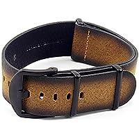 DASSARI Men's Slater Distressed Italian Leather Nato Watch Strap W/ Matte Black Buckle In Tan 20Mm