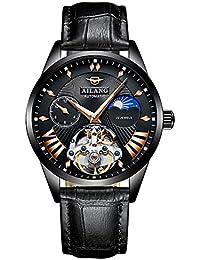 AILANG 8607G メンズ 機械式腕時計 GMT ムーンフェーズ (ブラック/ブラック/黒レザー) [並行輸入品]