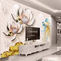 Bzbhart 3Dは新しい豊富な蓮の宝石類の三次元壁の注文の大きい壁画の壁紙を浮彫りにしました-120cmx100cm