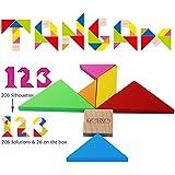 Wooden Tangram Puzzle -Tangram Wooden Brain Teaser Puzzle for Children Adults Grownups Gift for Men