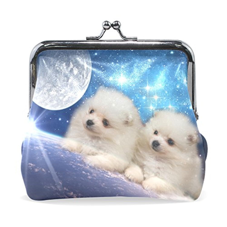 GORIRA(ゴリラ) かわいい 子犬兄弟 地球の星空 超繊レザー&木綿 人気財布 ブランド がま口式小銭入れ ミニがま口