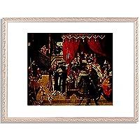 Wertinger, Hans,1465/70-1533「Der Arzt Philippus am Krankenbett Alexanders des Grosen.1517.」インテリア アート 絵画 プリント 額装作品 フレーム:装飾(銀) サイズ:L (412mm X 527mm)