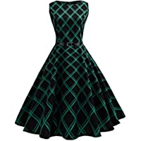 Lookatool Women Vintage Floral Plaid Sleeveless Casual Evening Party Dress