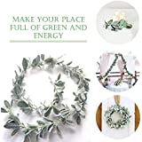Lambs Ear Greenery Artificial Hanging Plants - 6 Ft Fake Lambs Ear Garland - Aesthetic Room Decor - Leaves Room Decor for Wed