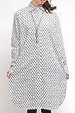 インド綿 エスニック風 幾何学 ドット柄 長袖 シャツ ワンピース シンプル シャツ チェニック ワンピ (白)