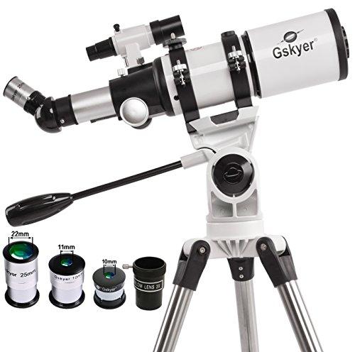 Gskyer 天体望遠鏡 トラベルスコープ80 屈折式 経緯台 口径80mm焦点距離400mm 初心者と子供向け 激安キャンペーン半額以上値下げ!