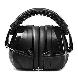 Patech 防音イヤーマフ 遮音値34dB折り畳み型 装着感良好 ANSI S3.19 CE EN521認証済み 聴覚を保護する耳覆い 大人・子供兼用 プロフェッショナル (ブラック)