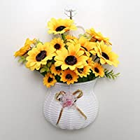 [XINXIKEJI]手作りフラワー 花瓶付 壁掛ける 造花 花束 人工観葉植物 本物にそっくり 結婚式 ホーム キッチン ベランダ パーティー 飾り プレゼント 贈り物 向日葵