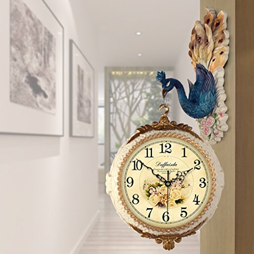 アメリカ式のピーコックの両面壁時計、クリエイティブリビングルームの時計、サイレント装飾的な壁時計H75cm * W35cm ( 色 : A )