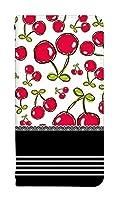 スマホケース 手帳型 iPhone XR ケース 手帳 かわいい フルーツ柄 果物 デザイン 0011-E. サクランボ柄 [iPhoneXR] カバー アイフォン テンアール ケース 人気 ベルトなし スマホゴ