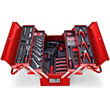118 Piece Ultimate Tool Kit Box with cordless screwdriver - Red