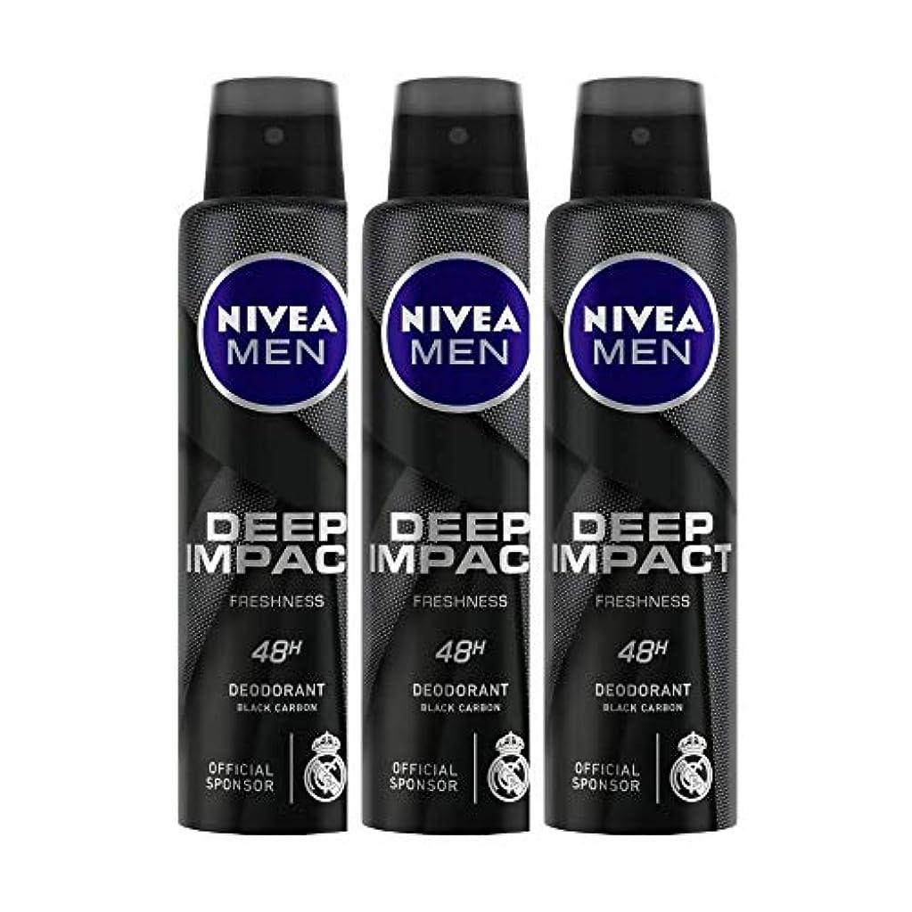 降ろす隙間説明するNivea Men Deep Impact Freshness Deodorant Spray - For Men, 150 ml (Pack of 3)