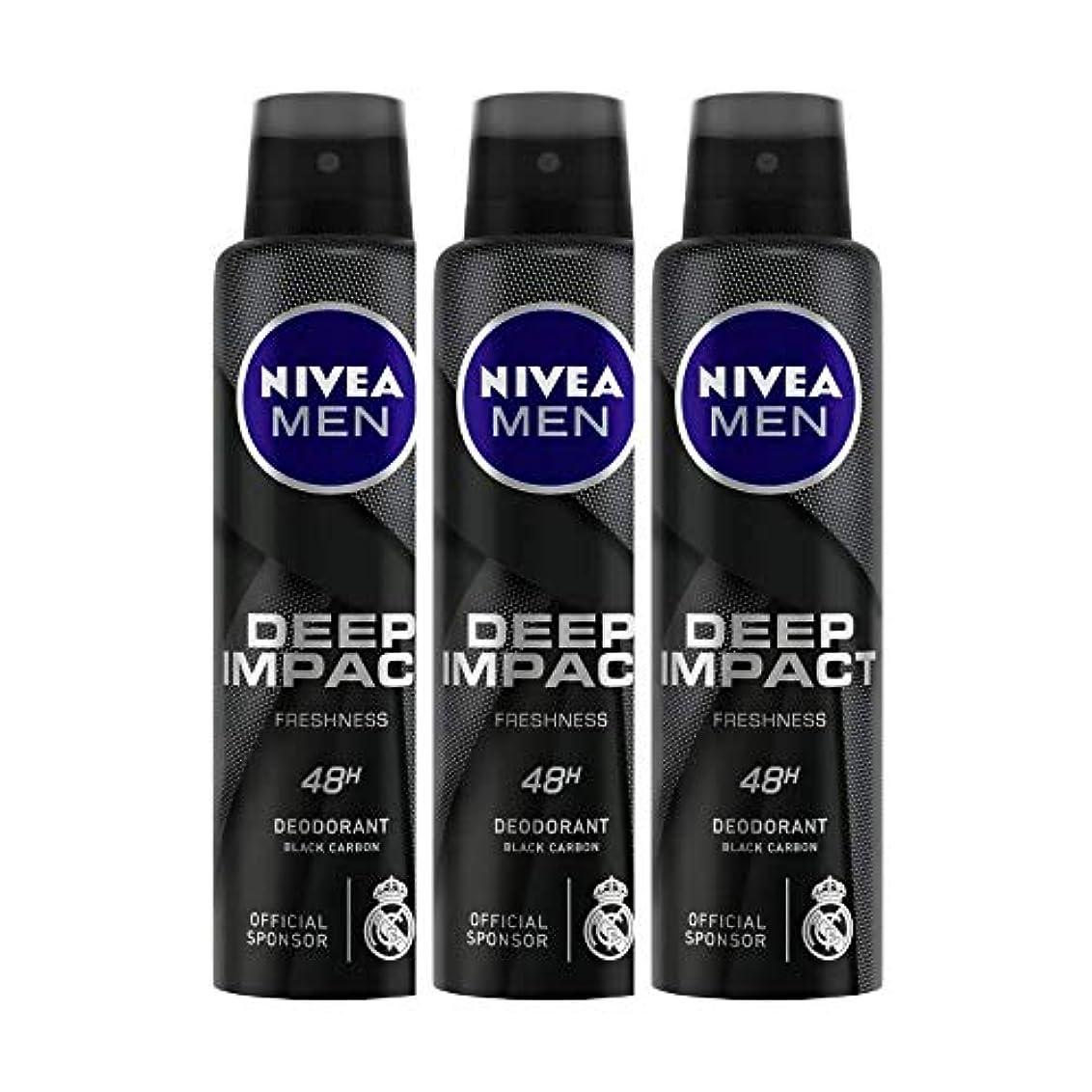 六ピア土地Nivea Men Deep Impact Freshness Deodorant Spray - For Men, 150 ml (Pack of 3)