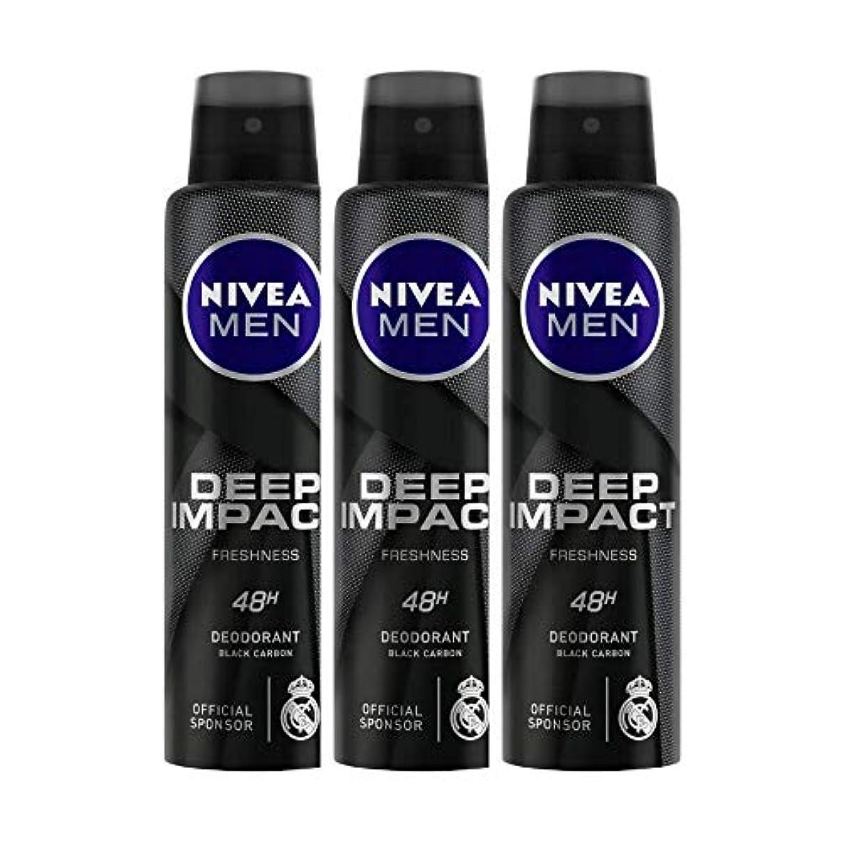 絶壁勢い椅子Nivea Men Deep Impact Freshness Deodorant Spray - For Men, 150 ml (Pack of 3)