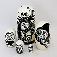 Russian木製Nesting Doll ' The Nightmare Beforeクリスマス' 5-pc 4.25