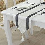 テーブルランナー ホームデコレーション 北欧 おしゃれ 長方形 エレガント モダン シンプル 33*180cm (Color : White)