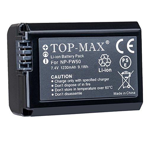 TOP-MAX NP-FW50 互換バッテリ や 急速usb充電器は Sony Alpha 7, a7, Alpha 7R, a7R, Alpha 7R II, Alpha a3000, a6000, NEX-3, NEX-3N, NEX-5, NEX-5N, NEX-5R, NEX-5T, NEX-6, NEX-7, NEX-C3, NEX-F3, SLT-A33, SLT-A35, SLT-A37, SLT-A55V, Cyber-shot DSC-RX10対応