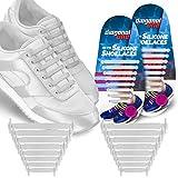 CONVERSEスニーカー 対角1つnoタイShoelaces子供&大人。TheゴムシリコンShoe Laces靴文字列を交換します。16Slip On TielessフラットSiliconスニーカー靴紐