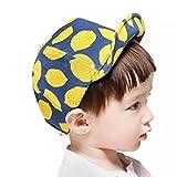 Spinas(スピナス) キッズ ベビー 帽子 キャップ フルーツ レモン 柄 つば かわいい 日よけ UVカット 熱中症 防止 おでかけ 男の子 女の子 全2色 ホワイト ブルー (ブルー)