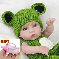 クラシック11インチCute Boy人形ハンドメイドフルSiliconeビニールRebornベビー人形withグリーンセーター服セット子供用誕生日ギフト