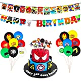 PANTIDE 54 Pack Superhero Party Supplies Kit-Superhero Birthday Garland Banner, Latex Balloons, Cupcake Topper for Cake Decoration, Superhero Theme Party Decorations Party Favors for Kids Birthday