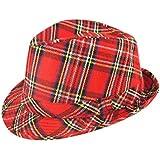 Rimiハンガー大人Tartan Trilby Hat 27 CMユニセックスファンシードレスパーティーSuppliesアクセサリーOneサイズ One Size レッド 3143#US
