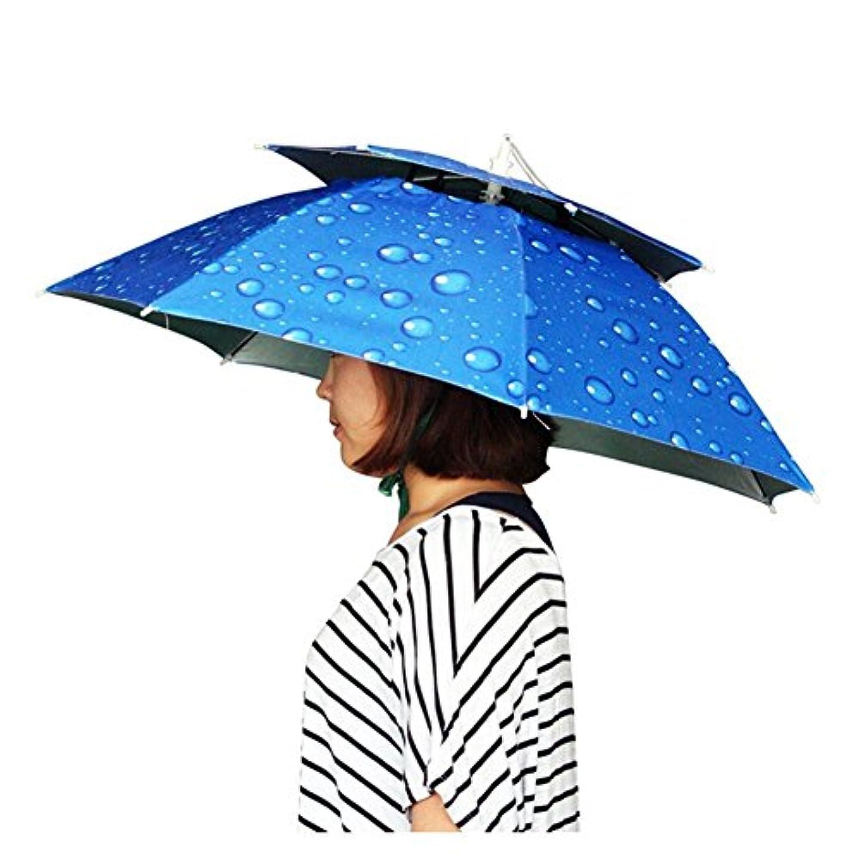 売り手幸運な行商zmayastar レジャーハット 折りたたみ傘帽子 かぶる傘 両手が自由 釣りの際の日差しカット  スポーツ 観戦キャンプ 屋外作業 つり用傘 屋外イベント すげ笠 釣り帽子 釣傘