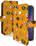 ZenFone Max Plus (M1) ケース 手帳型 12 干支 橙 動物 どうぶつ アニマル スマホケース ゼンフォンマックス プラス エムワン 手帳 カバー zenfonemax+ plus (m1)ケース plus (m1)カバー 花札 カルタ 総柄 [12 干支 橙/t0679e]