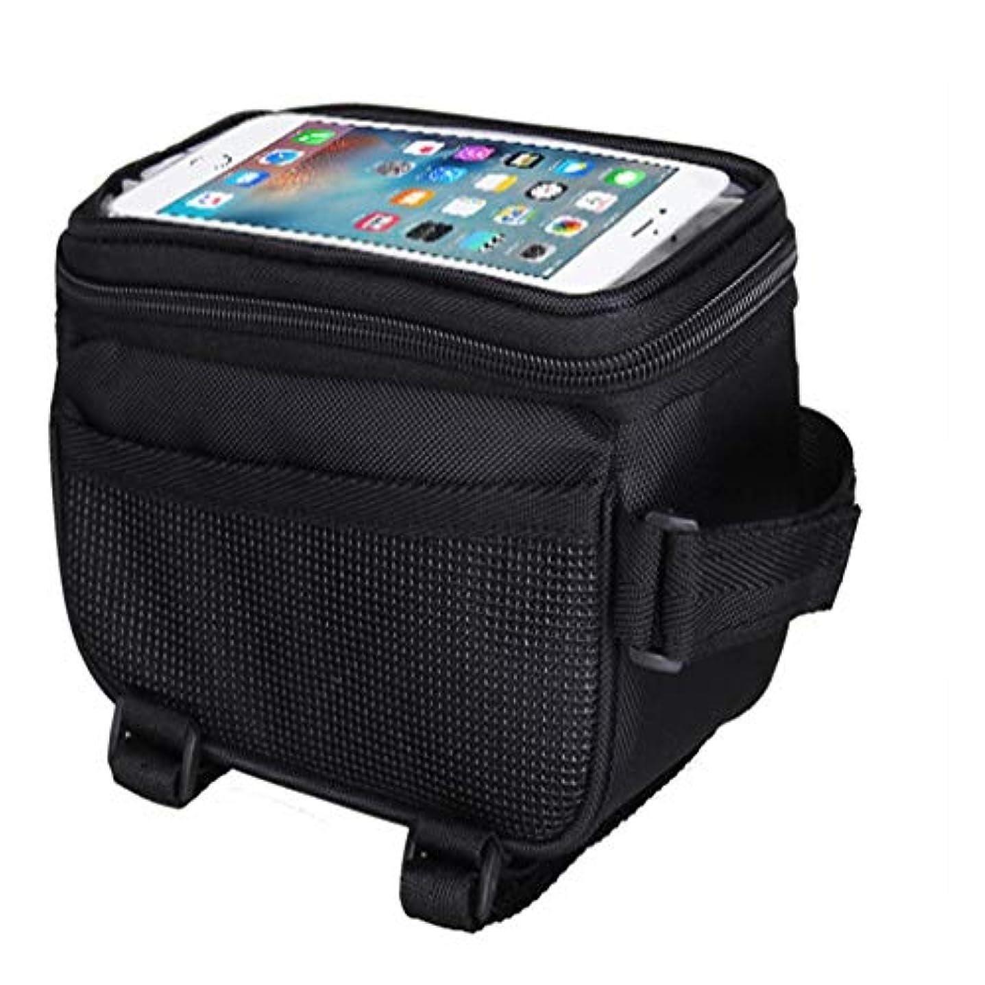 ペック大臣試してみる自転車 フロントバッグ 自転車電話バッグタッチスクリーンチューブパッケージ 多機能 サイクルバッグ (色 : ブラック)