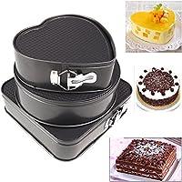 3Pcs/set Metal Cake Baking Pan Round Square Heart Shaped Non Stick Oven Baking Trays Cake Mold Bakeware Baking Tools Bakery tool Free shipping