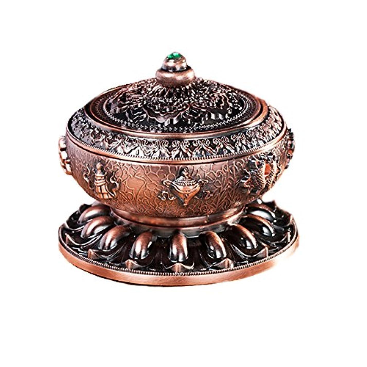 透けるアートスリムBUYSEEY 香炉 青銅 ブロンズ 丸香炉 お香立て 渦巻き線香 などに 香立て付き アロマ(S)