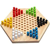 SODIAL(R) Traditional Hexagon Wooden Chinese Checkers Family Game Set