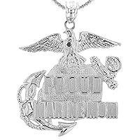 米国Proud Marine MomスターリングシルバーInsigniaペンダントネックレス シルバー