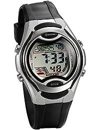 JewelryWe 可愛い 子供腕時計 スポーツウオッチ 多機能 LEDライト アラーム 防水(3ATM)ブラック