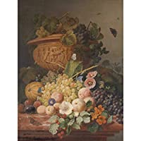 Eelkema Still Life With Flowers And Fruit Painting Large XL Wall Art Canvas Print まだ生活フラワーズフルーツペインティング壁
