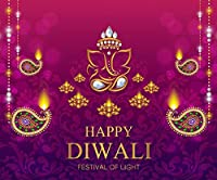 10x8フィート Happy Diwali フェスティバル背景幕 写真用 ゴールドディヤパターン クリスタルインドスタイル写真ブース背景