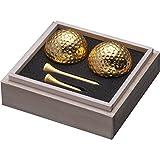 [エンタメゴルフ コンペ 景品 ギフト] 桐箱入り 金箔ゴルフボール&ティーセット(ダブル)