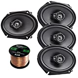 Car Speaker Package Of 4x (2 Pairs) Kenwood KFC-C6895PS 720-Watt 6x8 Inch 3-Way Performance Series Coaxial Speakers Bundle Combo With Enrock 16-Gauge 50 Feet Speaker Wire by KenwoodAudioBundle