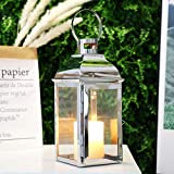 """JHY Design Silver Decorative Lanterns 15"""" High Stainless Steel Candle Lanterns with Tempered Glass for Indoor Outdoor, Events"""