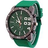 2013newestseller 1pcsグリーンカジュアルメンズレディース3Eyes大きなダイヤルクォーツ腕時計