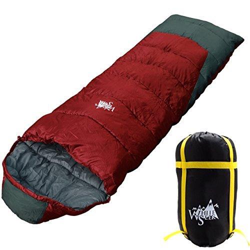 丸洗いOK White Seek 寝袋 シュラフ 封筒型 耐寒温度 -10℃ コンパクト収納 オールシーズン (ワインレッド)