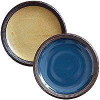 minoruba(ミノルバ) 渕十草 デリスタイル 2色セット 食器セット 大皿セット インディゴ イエロー