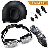 Swim Goggles [コンボ] with保護ケース/ Swim Cap with Ear Plugs、鼻クリップ