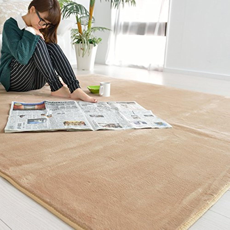 なかね家具 フランネルラグ 洗える 190×190 ホットカーペット対応 無地 ベージュ 241hura