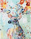 [フレームレス]30x40cm 油絵 数字キットによる絵画 塗り絵 手塗り DIY絵 デジタル油絵 -塗装鹿 [並行輸入品]