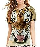 (シーファニー)Cfanny レディース メンズ 可愛い 3D 虎 ライオン プリント ユニセックス Tシャツ ,虎,XL/XXL