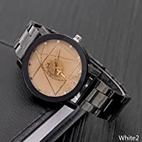WangyueShop 2018 新デザイン カップル腕時計 コンパス式 歯車 ポインタ 時計 合金鋼ストリップ 男女兼用 ウォッチ WT1